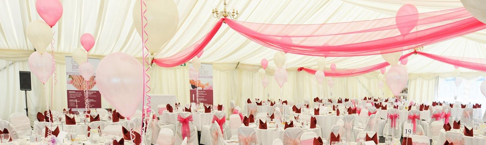 A panoramic view inside the beautifully decorated Paddock Marquee at Fontwell Park Racecourse.