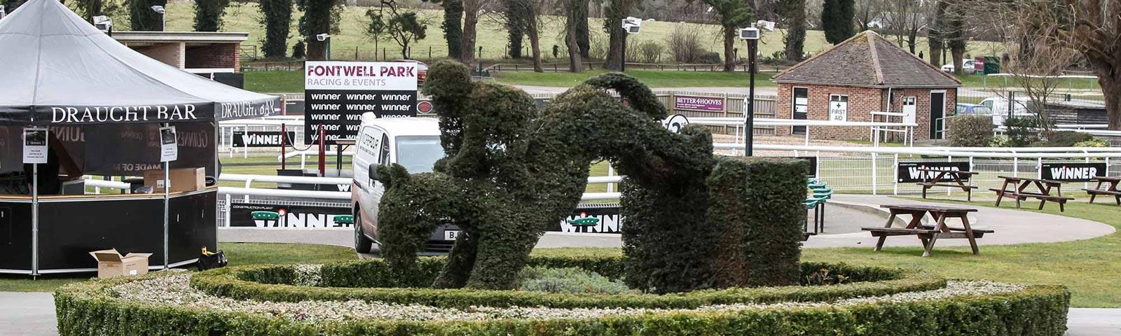 A view of some of the outdoor attractions at Fontwell Park Racecourse.