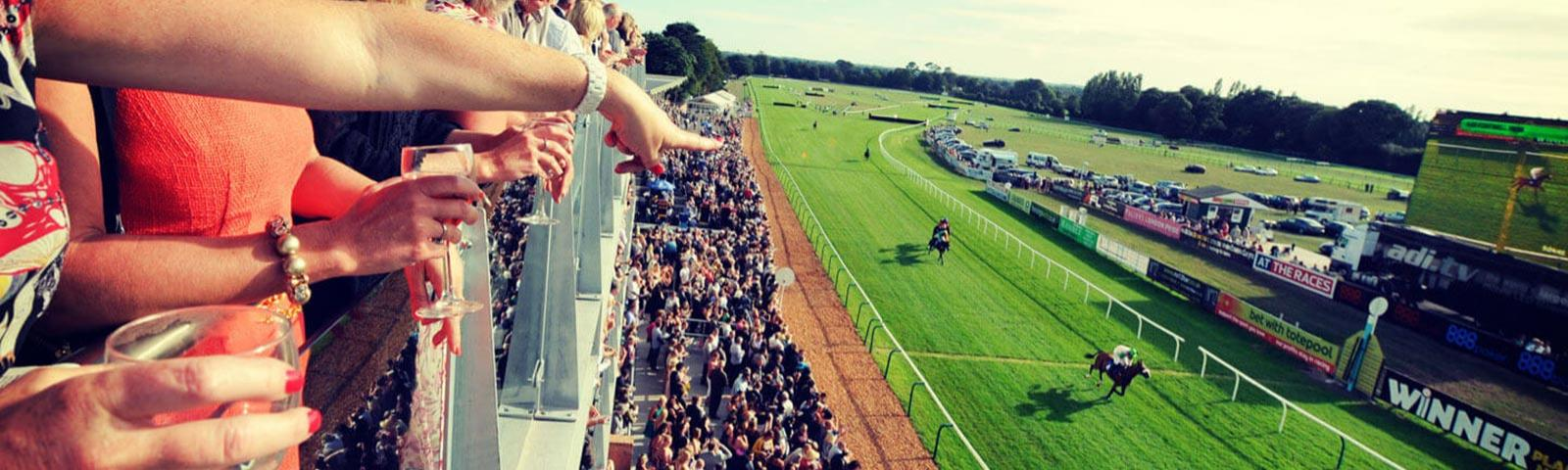 Crowds watching racing from the top floor of the main building at Fontwell Park Racecourse.