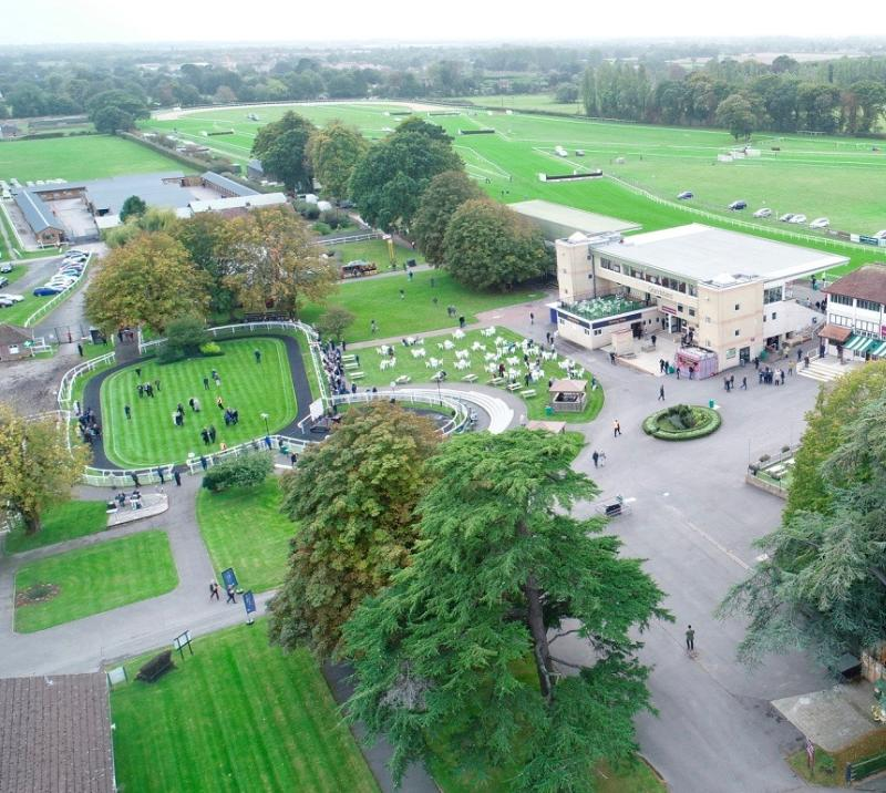 An aerial view over Fontwell Park Racecourse.