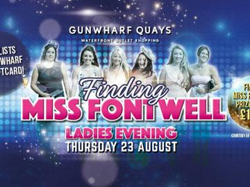 Promotional banner for Ladies Evening featuring Miss Fontwell competition.