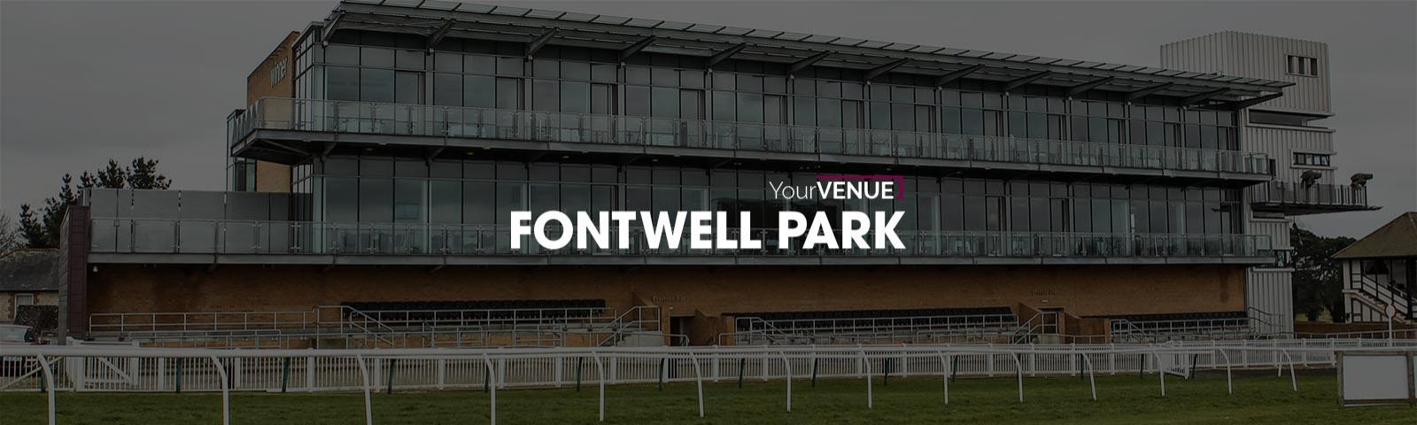 Photo of the main grandstand at Fontwell Park with the Your Venue logo overlaid on top of the image.
