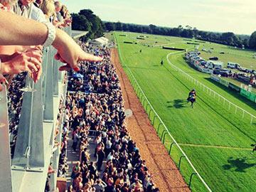 Crowds watching racing at Fontwell Park Racecourse.