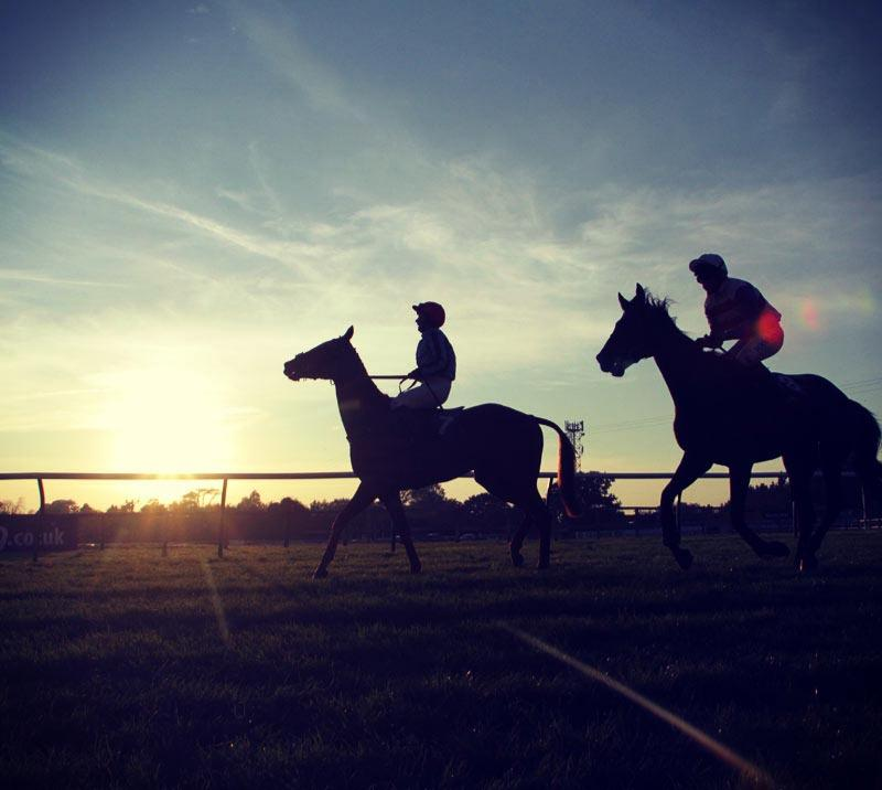Two jockeys riding on the Fontwell Park Racecourse with the sunset behind them.